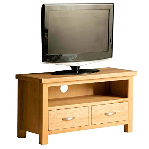 Roseland Furniture London Oak Small TV Unit | 90 cm Solid Wood Light Oak Television Cabinet Stand Suitable for TVs up to 40 inches for Living Room or Bedroom, Fully Assembled