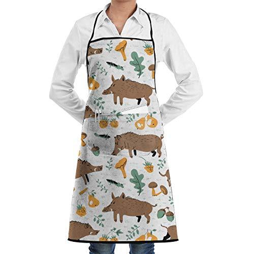 N\A NeuheitWildschweineundWaldpflanzenundFrüchteKüchenchefSchürzemitgroßenTaschen-ChefSchürzezumKochen,Backen,Basteln,GartenundGrillen