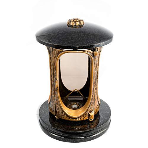 Afterglow Stilvolle Grablaterne Elégant Granit Schwedisch Black Höhe 23 cm/Ø 15 cm Grableuchte Grablicht Grablampe Granitlampe Granitlaterne Bronze mit Sockel Grabschmuck