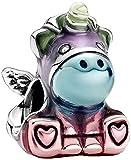 TopLAD Bruno El unicornio en colores del arco iris, se adapta a pulseras Pandora Charm de plata 925 DIY joyería de moda