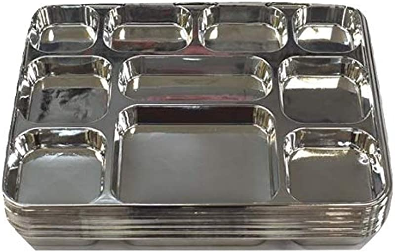 Disposable Plates 10 Compartment Silver Thali Plates Trays 100 Pack For Indian Puja Partys Weddings