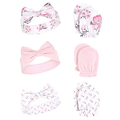 Hudson Baby Unisex Cotton Headband and Scratch Mitten Set, pink floral, 0-6 Months