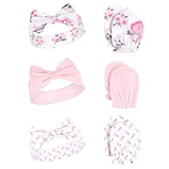 3 headbands and 3 pairs of scratch mittens Super soft cotton Headband stretches to fit up to 24 months Mittens should fit to 6 months Machine washable