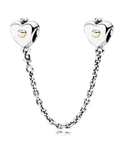 PANDORA - cadena de corazones Comfort coronado PANDORA plata 925/1000 y 585/1000 del oro 791878-05