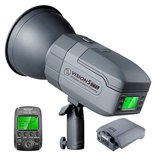 Neewer Vision5 400W TTL HSS Monolight Compatible con Sony Flash Estroboscópico Estudio para Exteriores con (2) Batería de Litio/Gatillo Inalámbrico Sistema 2,4G / 500 Flashes de Potencia Total