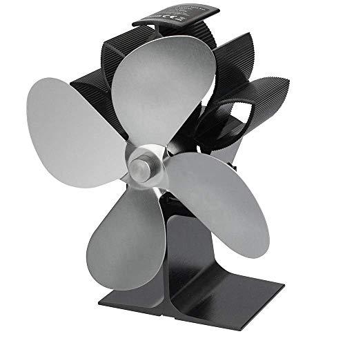 Ventilador de Estufa Ventilador de energía térmica Vertical Accionado por Calor automático 4 aspas Seguro Ecológico y eficiente Ventilador de Chimenea para Quemador de leña Gris