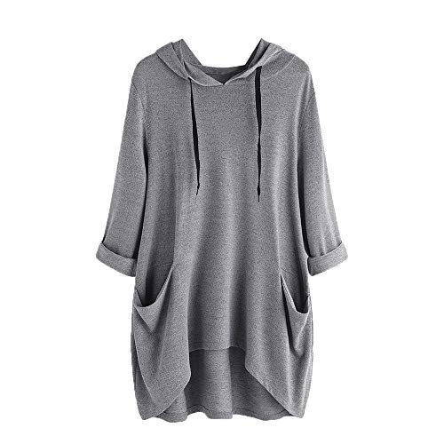 VEMOW Damenmode Tasche Lose Kleid Damen Rundhalsausschnitt beiläufige Tägliche Lange Tops Kleid Plus Größe(Y2-Grau, 48 DE/XL CN)