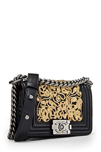 CHANEL Black Lambskin Boy Bag Mini (Renewed)