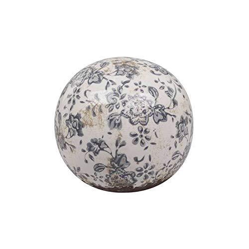 L'Héritier Du Temps Sublime Boule Décorative Sphère Objet Déco à Poser en Terre Cuite Emaillée Blanche Motif Floral Bleu Ø12cm