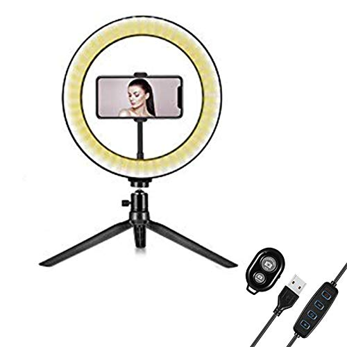 JNN LED Ring Light 10' with Tripod Stand and Phone Holder - Dimmable Desk Makeup Ring Light with 3 Light Modes, for YouTube Video Live Stream Makeup Photography, USB Powered