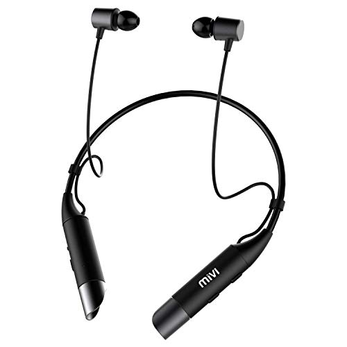 Mivi Collar Wireless Bluetooth 5.0 Neckband Earphones with Mic (Black)