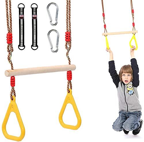 Morwealth Multifunktions Kinderholz Trapeze Schaukel mit Kunststoffringen Turnringe Ringe zum Aufhängen belastbar bis 120KG für Innen und Außenbereich (Gelb)