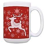Christmas Themed Mug Winter Holiday Reindeer Theme 15-oz Coffee Mug Tea Cup Red
