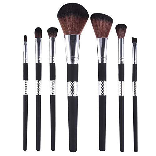 MEIMEIDA 7pcs pinceaux cosmétiques avec des tubes à carreaux décoratifs au milieu des poignées Fondation brosse à oeil en poudre lâche avec sac, poignée en argent