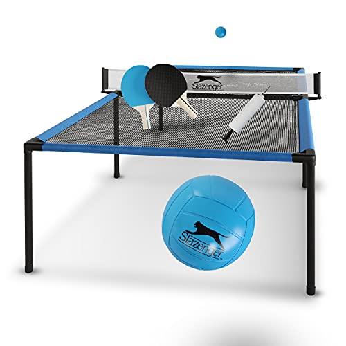 Slazenger Tischtennisplatte, Tavolo da Ping Pong Unisex-Giovani, Blu/Nero, 240 x 120 x 63 cm (LxBxH)
