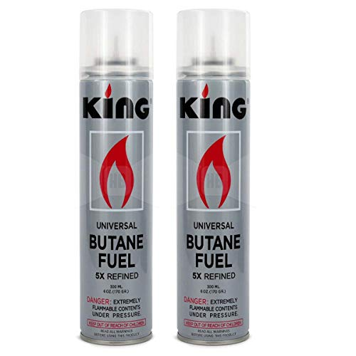 Butane Refill Fuel Universal Fluid Refill Butane Torch Lighter Fuel Ultra Refined 300 ml (2 Pack) (King)
