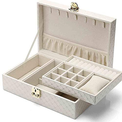 ZZZLL 2 Capas Caja de joyería de Cuero PU Caja de joyería de Gran Capacidad para Pendientes...