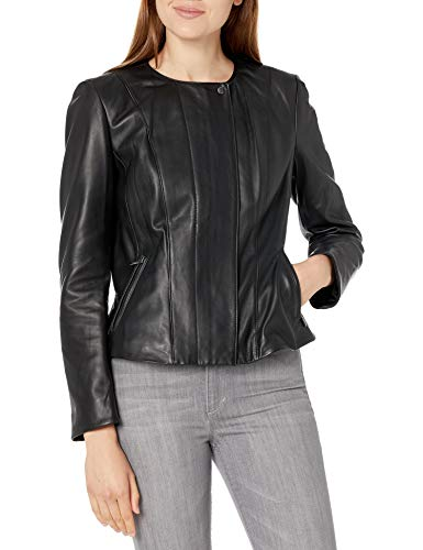 Cole Haan Women's Leather Feminine Racer Jacket, Black, Large