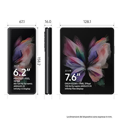 "Samsung Galaxy Z Fold3 5G, Caricatore incluso, Cellulare Smartphone Pieghevole Android SIM Free 256GB Display Dynamic AMOLED 2X 6,2""/7,6"" Phantom Black 2021 [Versione Italiana]"