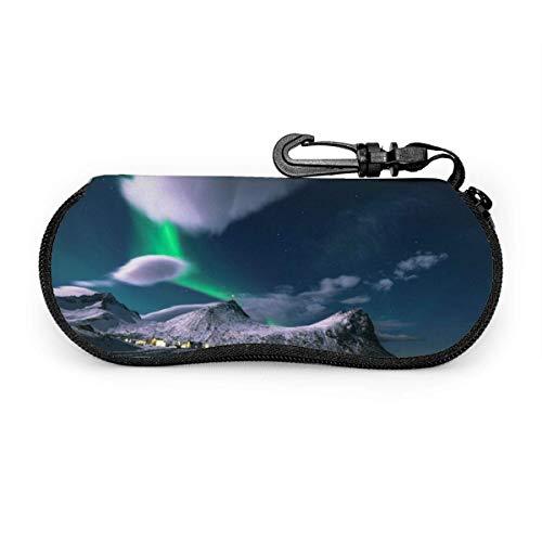 N\A Estuche Blando para Gafas de Sol con Llavero con mosquetón, Bolso portátil Ultraligero con Cremallera de Neopreno Cloud Clourful Cloud