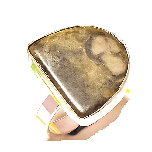 Shivi Gray Senic Agate Ring Size 8.5 US (Sizeable), Sterling Silver Plated, Handmade Jewelry from