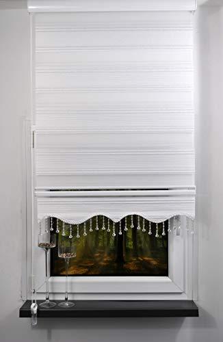 Storperde24 Doppelrollo Duorollo weiß grau Glitzer mit Perlen Gardine Fenster Jalousie (MS01, 100x200 cm)