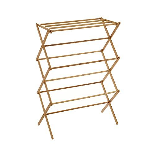 Tendedero plegable de bambú natural de 74x36x105 cm - LOLAhome