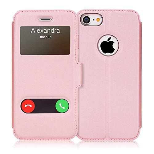 FYY iPhone 7 Lederhülle, iPhone se Hülle 2020,iPhone 7 Klapphülle mit [Premium Leder] [Standfunktion] [Magnetverschluss] Bookstyle Schutzhülle für iPhone 7 Handyhülle, iPhone 8 Tasche-Rosa Gold