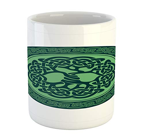 Ambesonne Celtic Tree Mug, Stamp Style Old Motif with Natural Elements and Knot Like Design, Ceramic Coffee Mug Cup for Water Tea Drinks, 11 oz, Dark Teal and Pale Green
