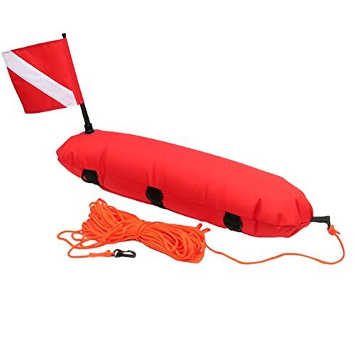 Perfeclan Tablero de señal Flotante Inflable para Freediving, Buceo, Bandera de Buceo, Naranja de Alta Visibilidad, Anillos en D, Cuerda de 25m, Bandera de - Rojo