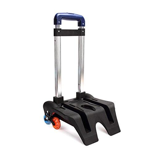 GudeHome Trolley Alu Gepäckwagen Handwagen Sackkarre Klappbar Rollen-Einkaufswagen für Kinder Schulrucksack Rucksack bunt blau