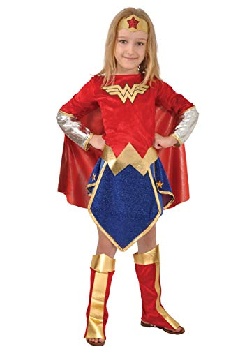 Ciao-Wonder Woman costume bambina originale DC Comics (Taglia 8-10 anni), Colore Rosso/Blu, 11677.8-10