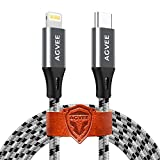 AGVEE [3 Pack 3ft] Short USB-C to Lightning Charging Cable, Seamless Type-C End, Braided Charger Cord i-Phone 8 Pin Wire for Phone 12 11 Pro Max, 12 Mini 11Pro SE2, Case Friendly, Gray
