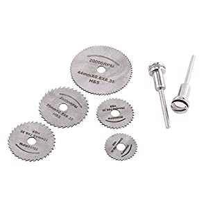 Paquete de 5 piezas Mini HSS hoja de sierra circular hoja de corte con 2 barras de extensión para herramienta rotativa