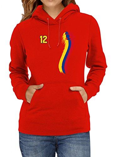 Kolumbien Weltmeisterschaft 2018#33 Premium Hoodie Fan Trikot Fußball WM Nationalmannschaft Frauen Kapuzenpullover, Farbe:Rot;Größe:XS