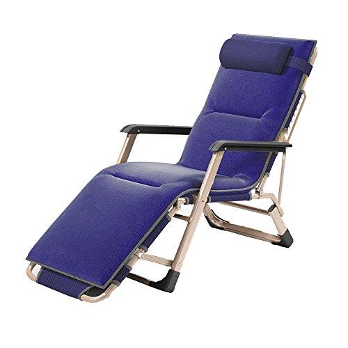 Fauteuils inclinables Feifei Chaise Longue Balcon Ménage Chaise Pliante Bureau Déjeuner Chaise Siesta Lit Paresseux Chaise Plage Chaise Canapé Pliant (Couleur : Bleu)