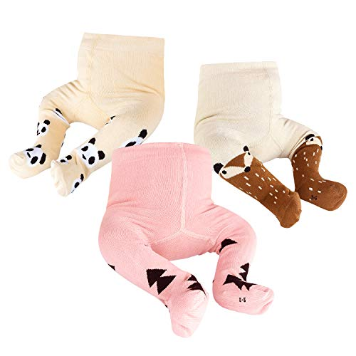 NOBRAND OioTuyi Mallas tejidas para bebé Leggings de algodón sin costuras Paquete de 3 pantimedias para niñas Bebés recién nacidos Niños pequeños 0-2Y#Pattern_0-6M