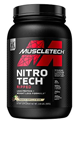 Protein Powder for Weight Loss   MuscleTech Nitro-Tech Ripped   Whey Protein Powder + Weight Loss Formula   Lose Weight   Weight Loss Protein Powder for Women & Men   Vanilla, 2 lb(package may vary)