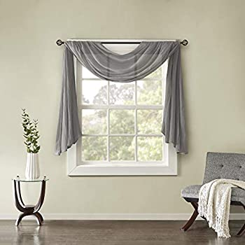 Madison Park Harper Sheer Bedroom Modern Contemporary Window Curtain for Kitchen Solid Fabric Panels 42  x 144  Grey