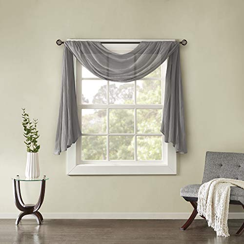 "Madison Park Harper Sheer Bedroom, Modern Contemporary Window Curtain for Kitchen, Solid Fabric Panels, 42"" x 144"", Grey"