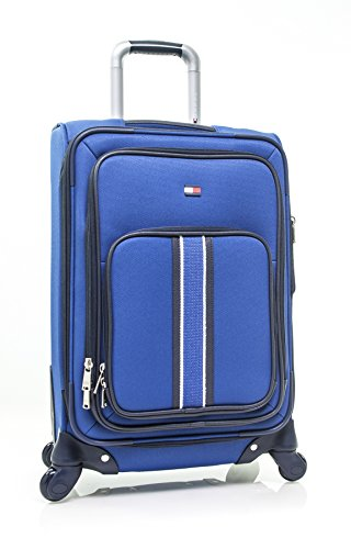 Tommy Hilfiger Signature Solid Expandable Spinner Luggage, blue, 20 Inch