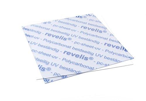 revelis® Polycarbonatplatte transparent in verschiedenen Größen und Stärken zur Auswahl 900x400x2 mm