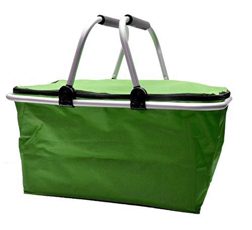 e-Best Cesta de la compra térmica con asas acolchadas, aislante, bolsa isotérmica, cesta de pícnic, bolsa térmica, nevera plegable, color verde