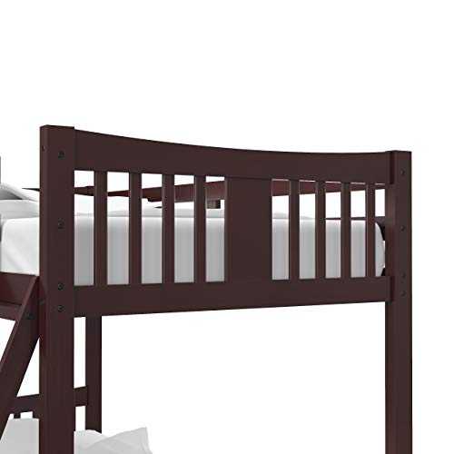 Storkcraft Caribou Solid Hardwood Twin Bunk Bed with Ladder and Safety Rail, Espresso