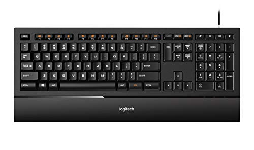 Logitech Illuminated Ultrathin Keyboard K740 with Laser-Etched Backlit Keyboard and Soft-Touch Palm Rest - Black