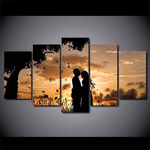 Generic Druckbilder 5 Panel Liebhaber Landschaft Modulare Bild Große Leinwand Malerei Für Schlafzimmer Wohnzimmer Home Wandkunst Decor30x40cmx2 30x60cmx2 30x80cmx1 Rahmenlose