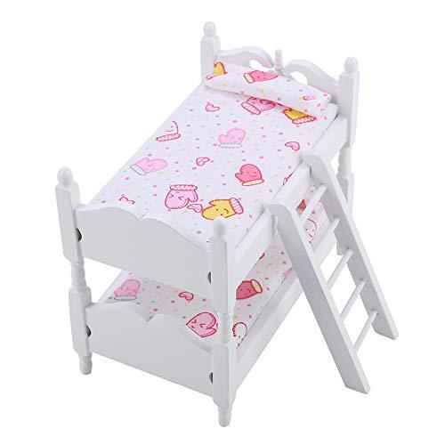 Litera de muñeca, litera de muñeca, Cama de casa de muñecas en Miniatura, Muebles de muñeca, litera, muñeca Duradera, litera de Juguete para casa de(Pink Gloves)