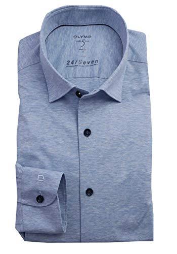 OLYMP Level Five Body fit Hemd 24 / Seven Langarm Jersey Stretch hellblau Größe 43
