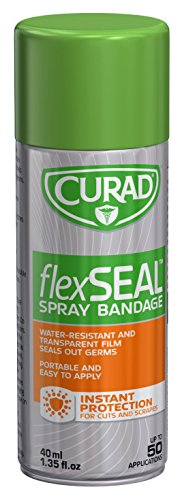 Curad Flex Seal Spray Bandage, Water Resistant, Transparent, for Cuts and Scrapes, 40 mL (Pack of 24)