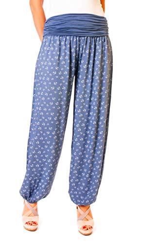 Fragolamoda Damen Hose Aladin Hippie Haremshose Freizeit Pluderhose Strandhose Lang Gemustert Anker Muster One Size Jeansblau